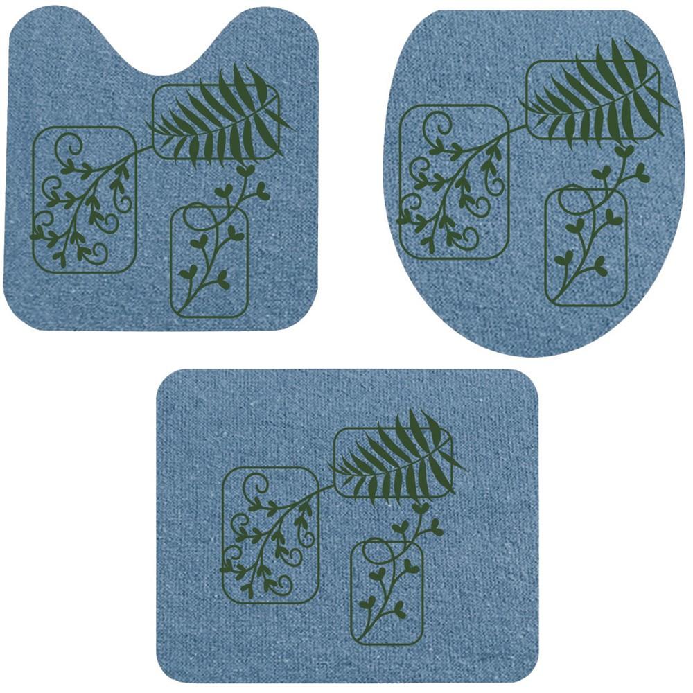 Jogo De Banheiro Azul Folhas Verde  03 Peças - Antiderrapante