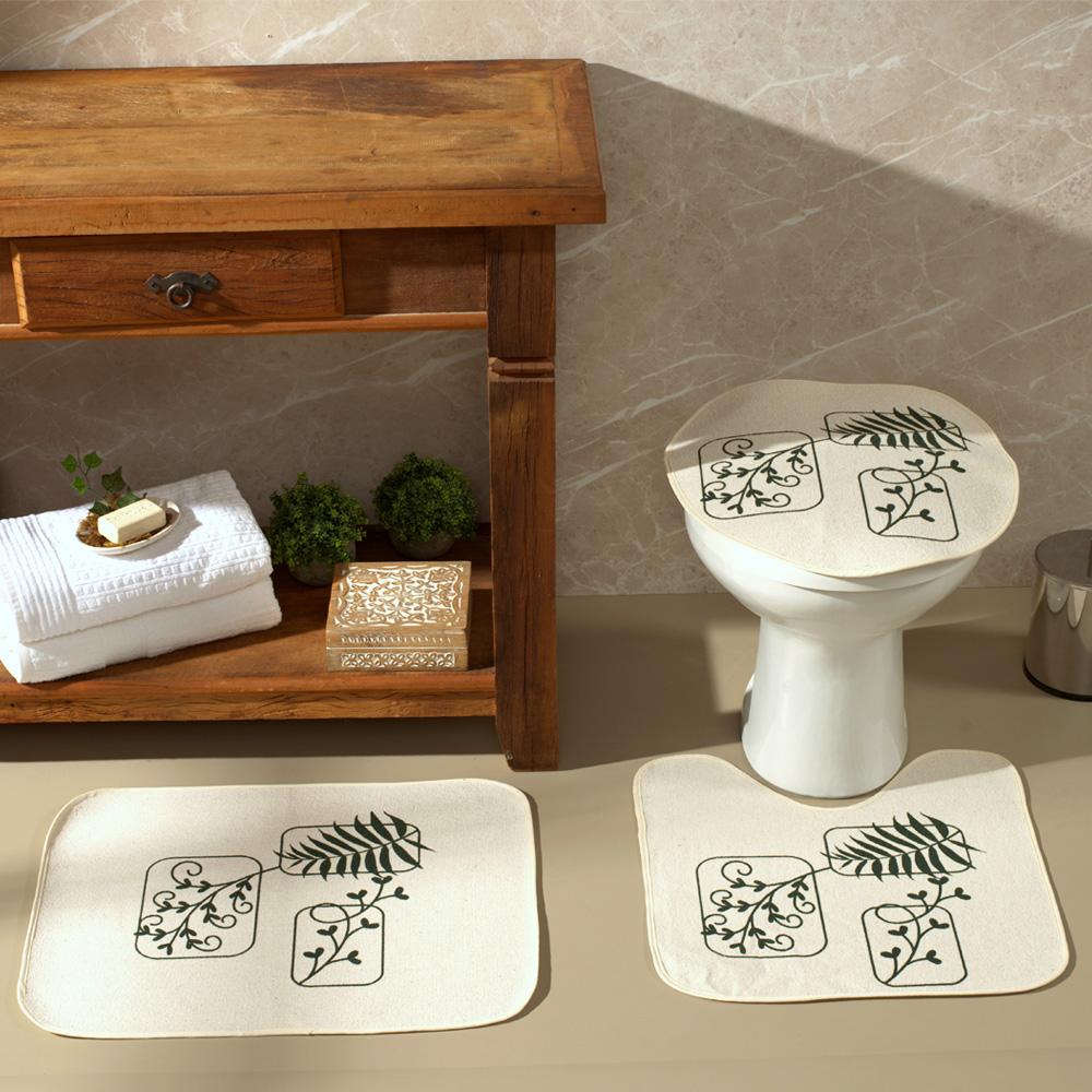 Jogo De Banheiro Natural Flores Verde 03 Peças - Antiderrapante