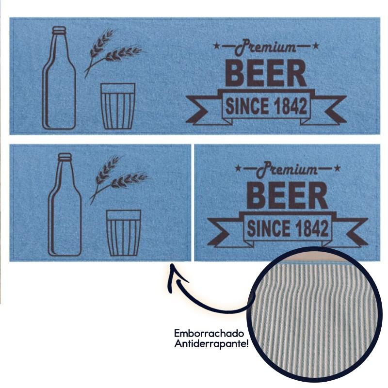 Jogo de Tapetes Azul Estampado Beer 3 peças - Antiderrapante