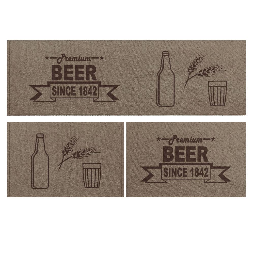Jogo Tapete Cozinha Bege Algodão Antiderrapante 3 Peças Beer