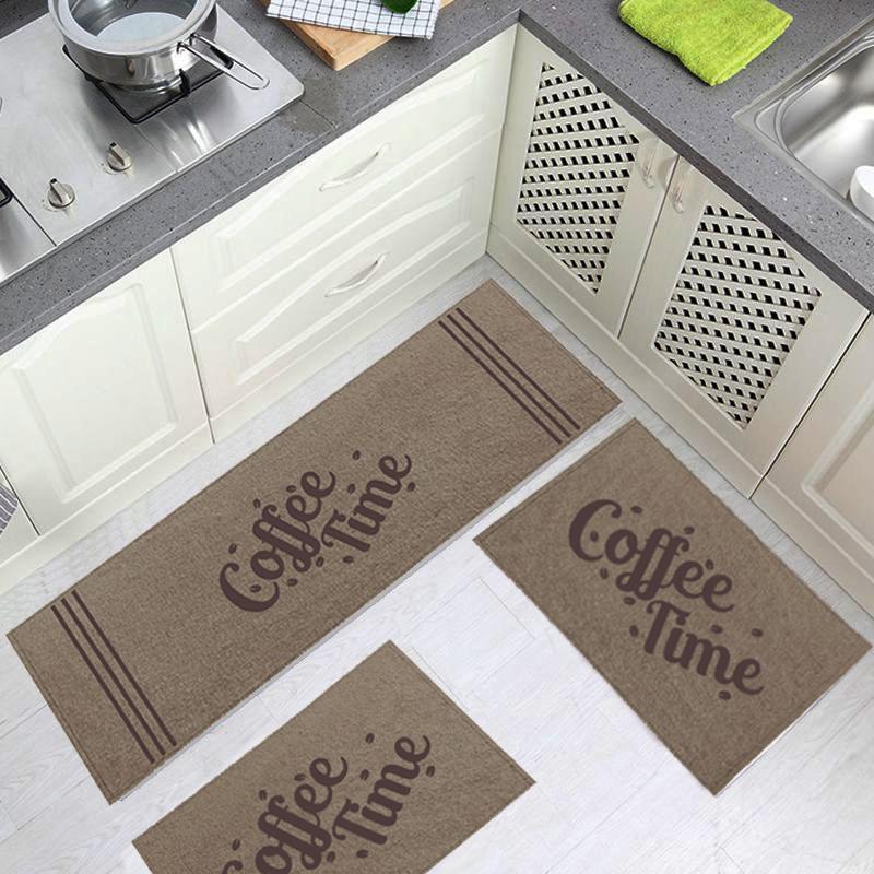 Jogo Tapete Cozinha Bege Algodão Antiderrapante 3 Peças Coffe