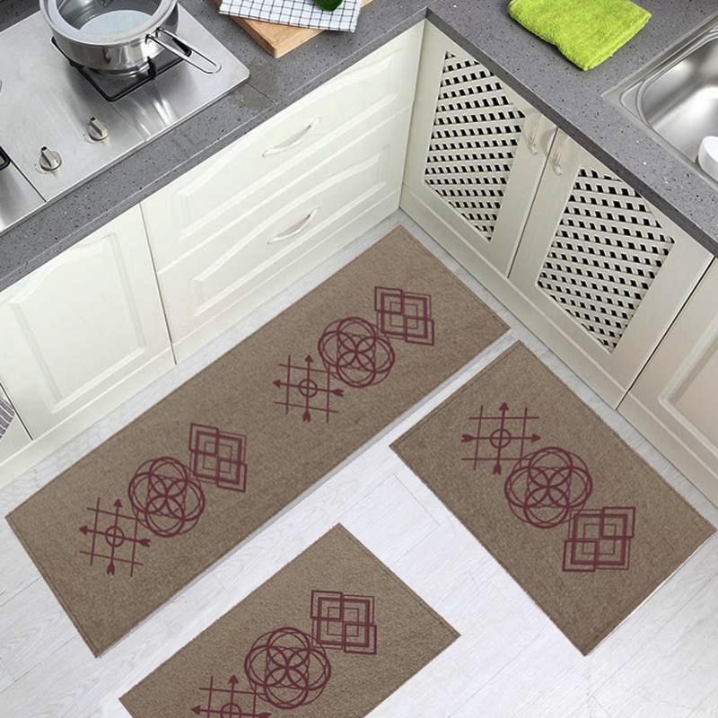 Jogo Tapete Cozinha Bege Algodão Antiderrapante 3 Peças Desenhos