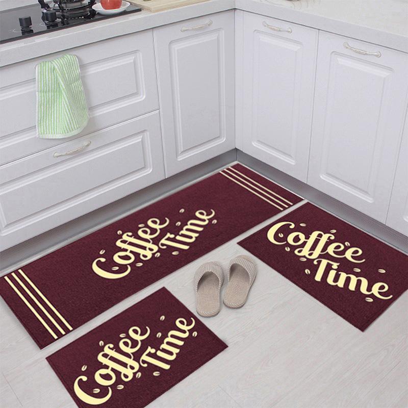 Jogo Tapete Cozinha Bordô Algodão Antiderrapante 3 Peças Coffe Marfim