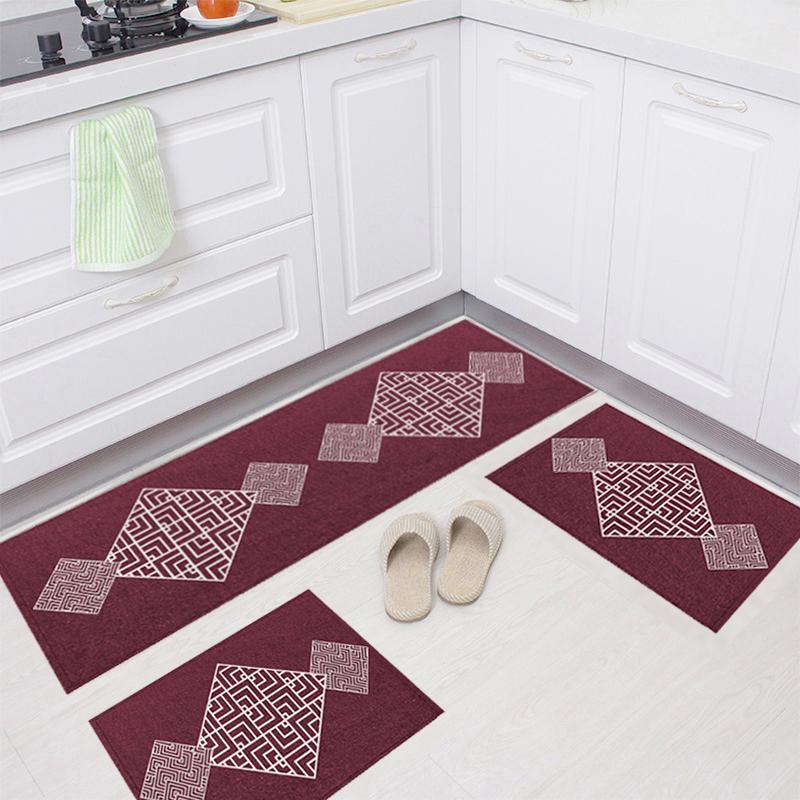 Jogo Tapete Cozinha Bordô Algodão Antiderrapante 3 Peças Maze Branco