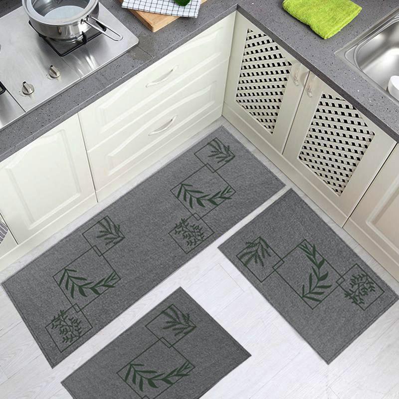 Jogo Tapete Cozinha Chumbo Algodão Antiderrapante 3 Peças Folhas