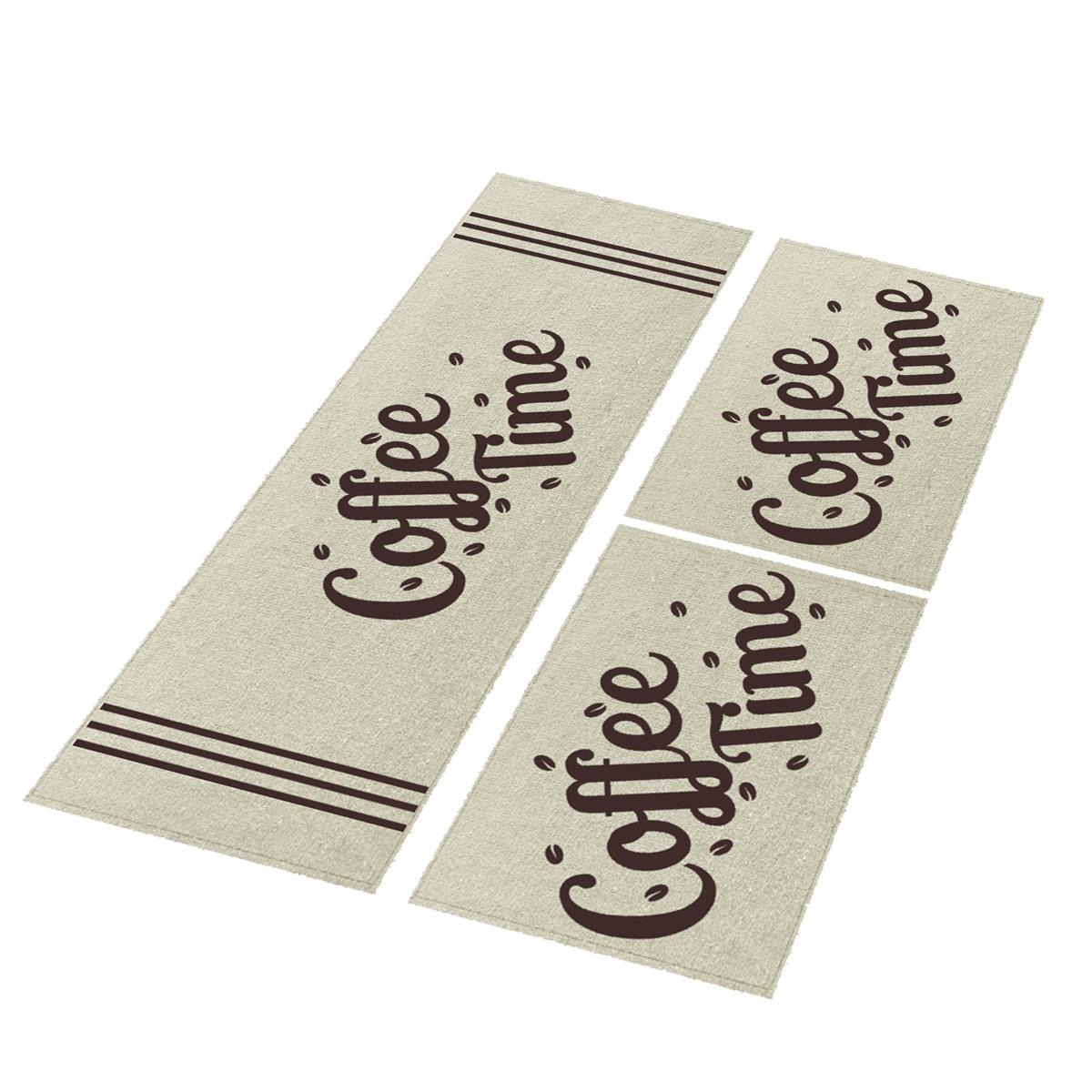 Jogo Tapete Cozinha Natural Algodão Antiderrapante 3 Peças Coffe Tabaco