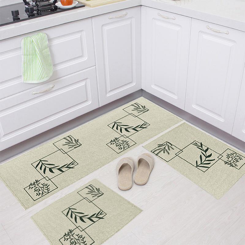 Jogo Tapete Cozinha Natural Algodão Antiderrapante 3 Peças Folhas Verde