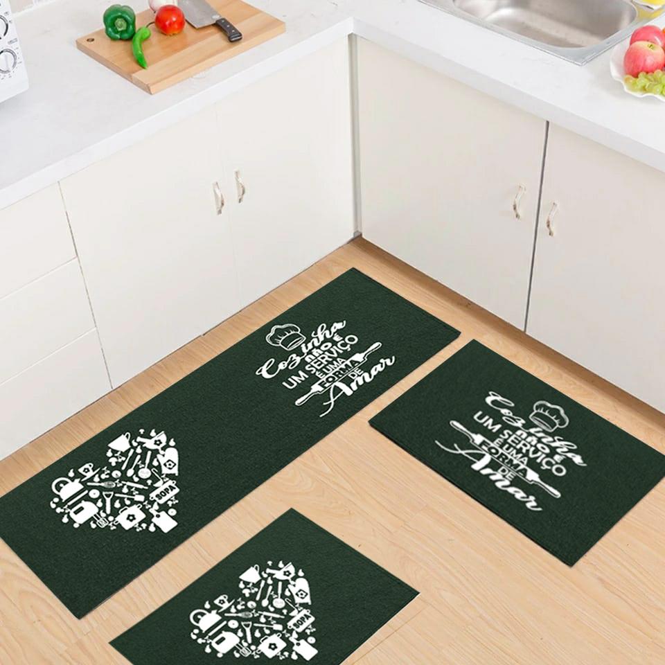 Jogo Tapete Cozinha Verde Algodão Antiderrapante Kit 3 Peças Coração