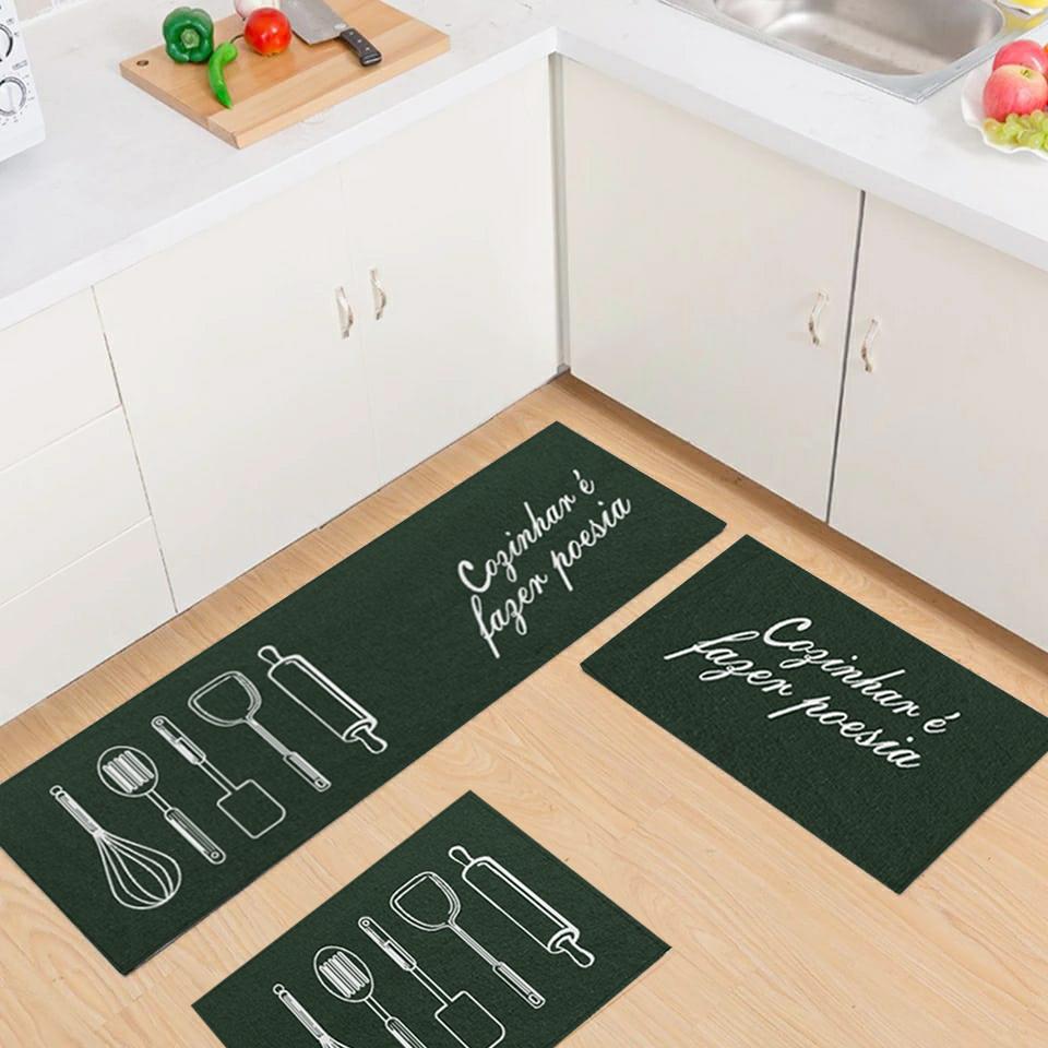 Jogo Tapete Cozinha Verde Algodão Antiderrapante Kit 3 Peças Poesia