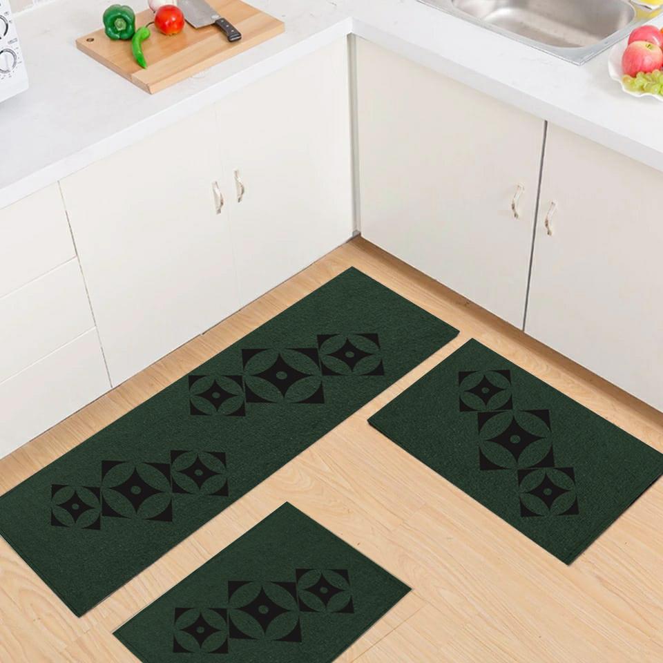 Jogo Tapete Cozinha Verde Algodão Antiderrapante Kit 3 Peças Star Preto