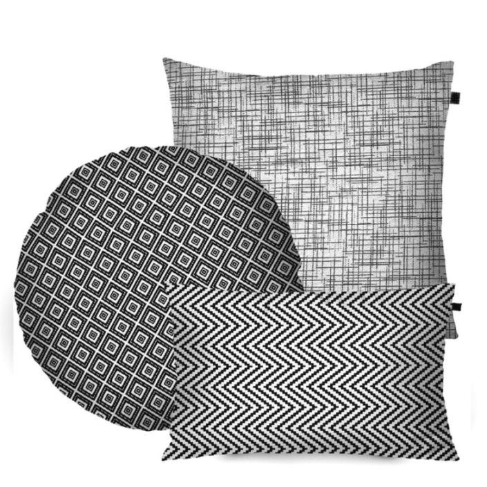 Kit com 3 Almofadas Formatos Preto/Branco