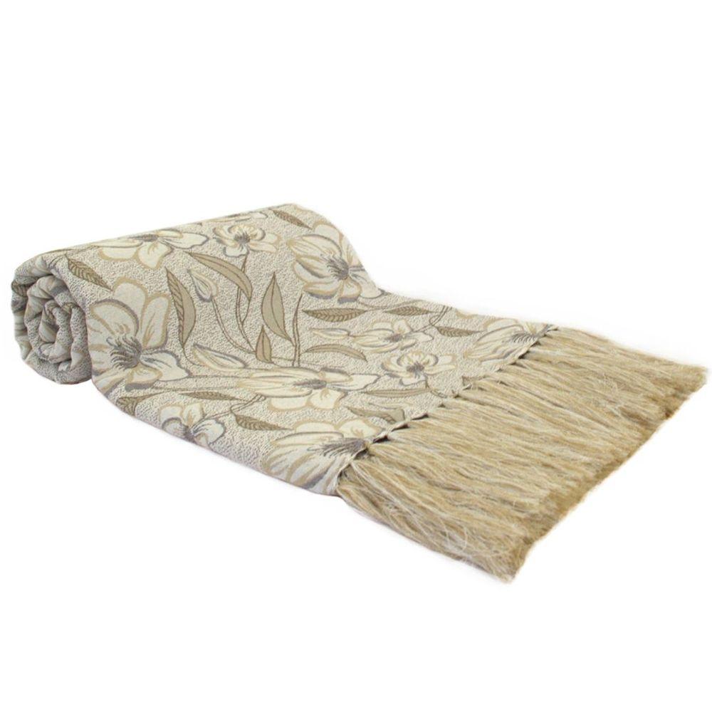 Manta Para Sofá Dupla Face Royalle Floral Branco/Bege