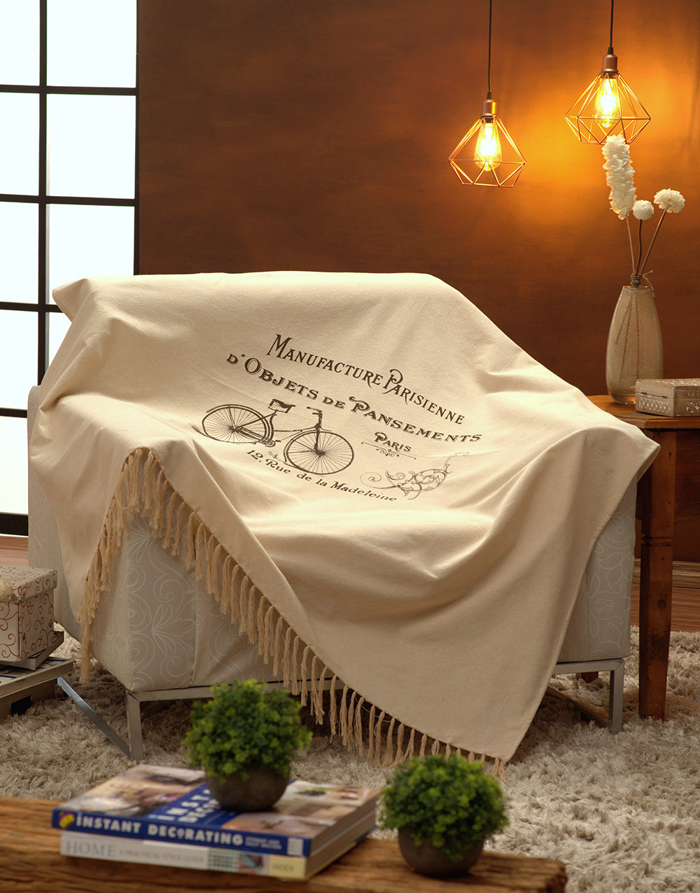 Manta Para Sofá Estampada Bege 140x150cm Bike Marrom