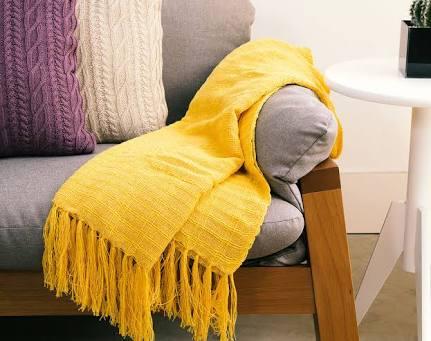 Manta Para Sofá Italiana Amarela