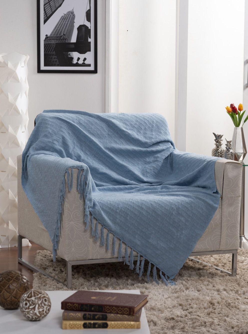 Manta Para Sofá Italiana Azul