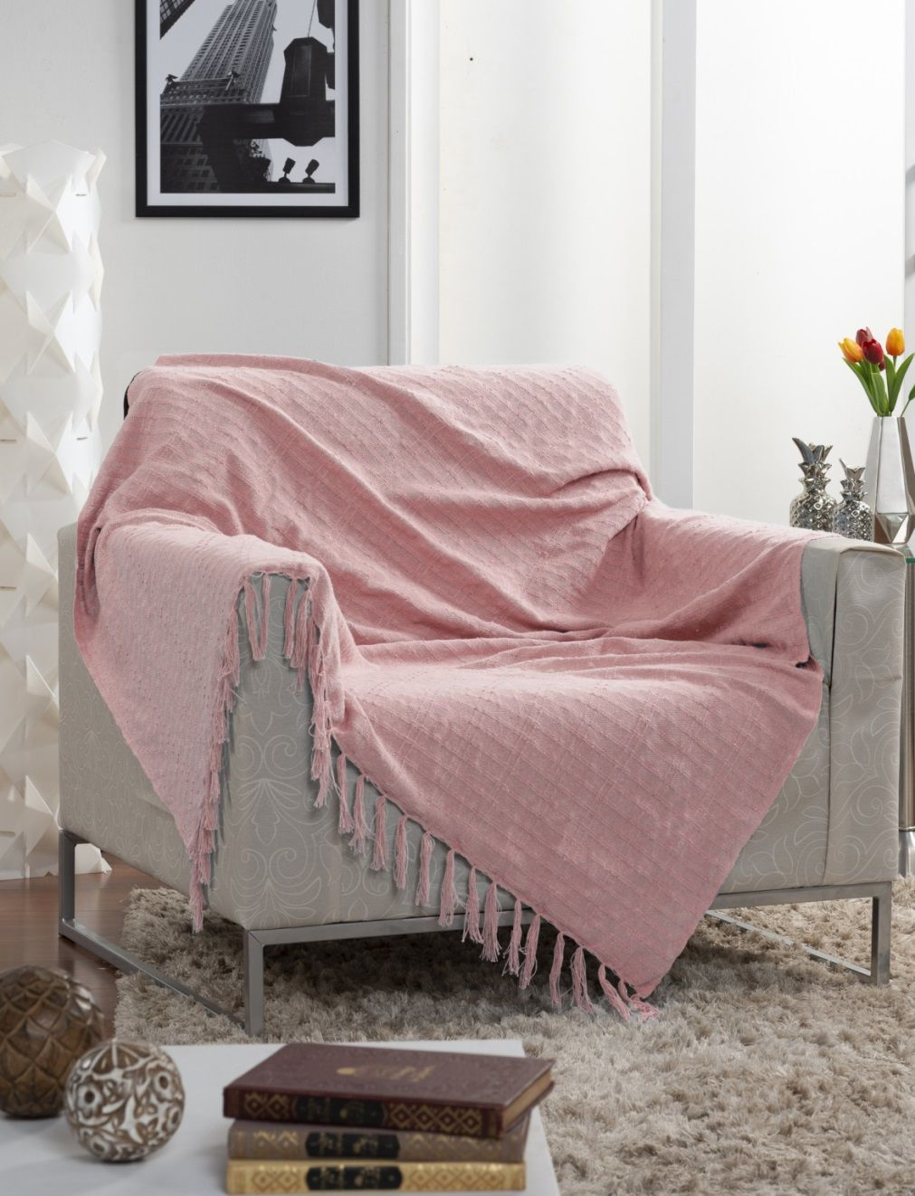 Manta Para Sofá Italiana Rosa