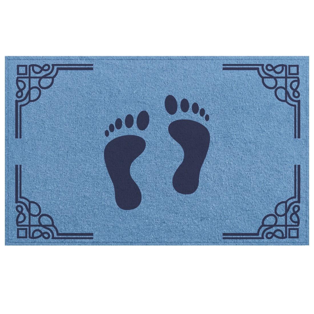 Tapete de Piso Banheiro Azul 45x65cm Pés 02 - Antiderrapante