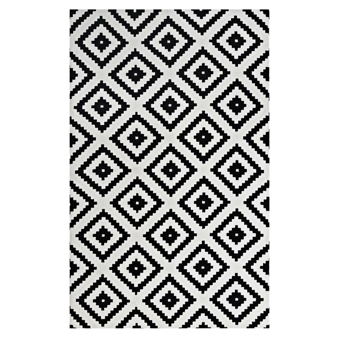Tapete Geométrico Atenas 135x200cm Branco/Preto - Antiderrapante