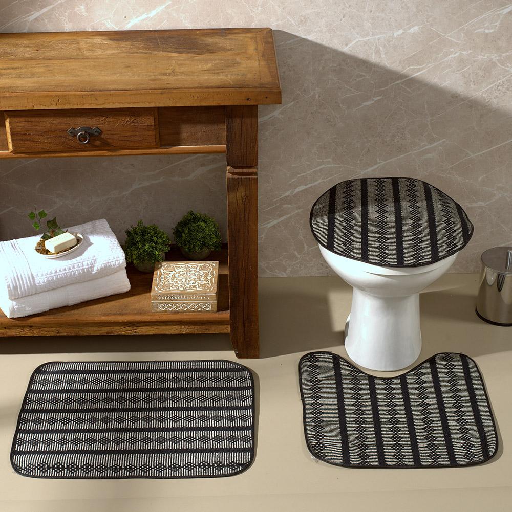 Tapete Jogo De Banheiro Cancún Preto Antiderrapante Kit 3 Peças