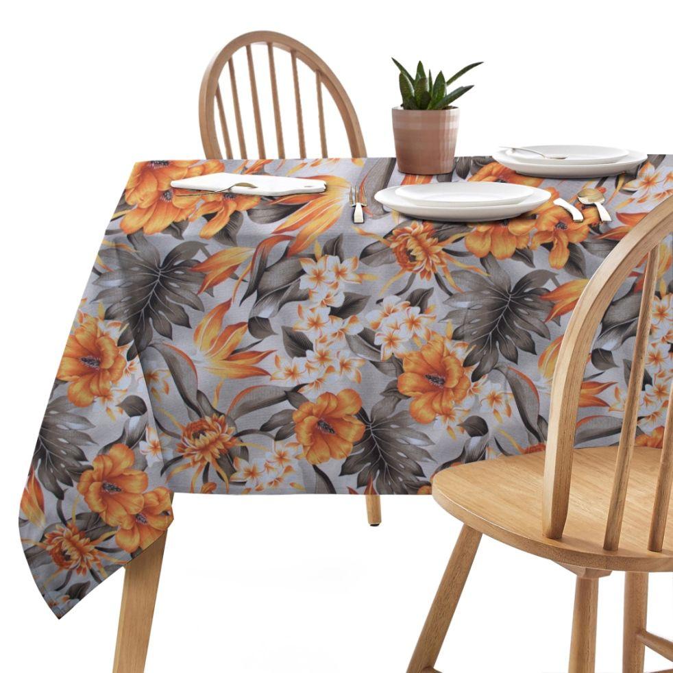Toalha de Mesa Wendy Floral Laranja