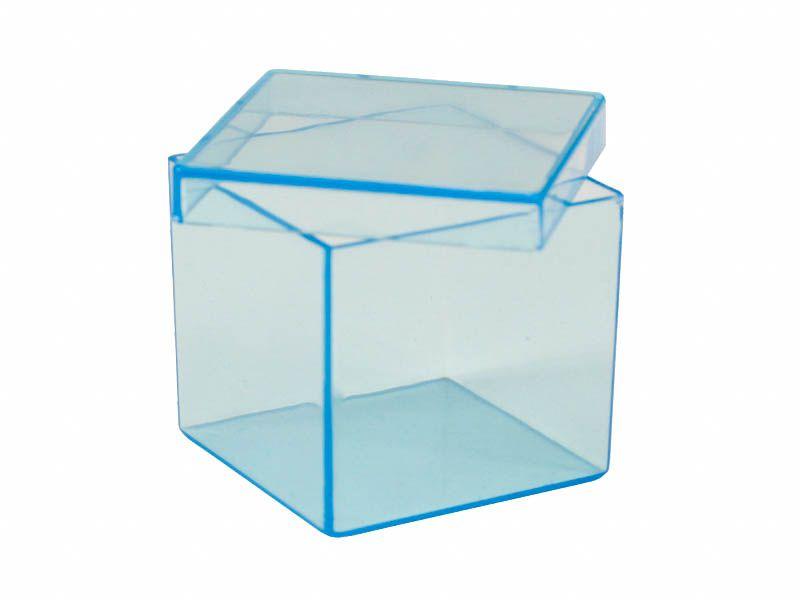 Caixa acrílico azul 5x5x5cm