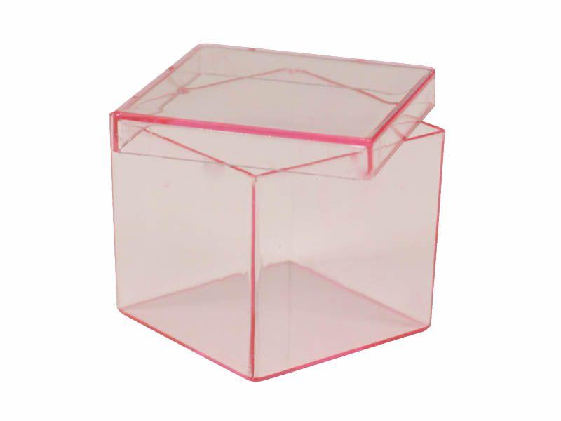Caixa acrílico rosa 5x5x5cm 10 unidades
