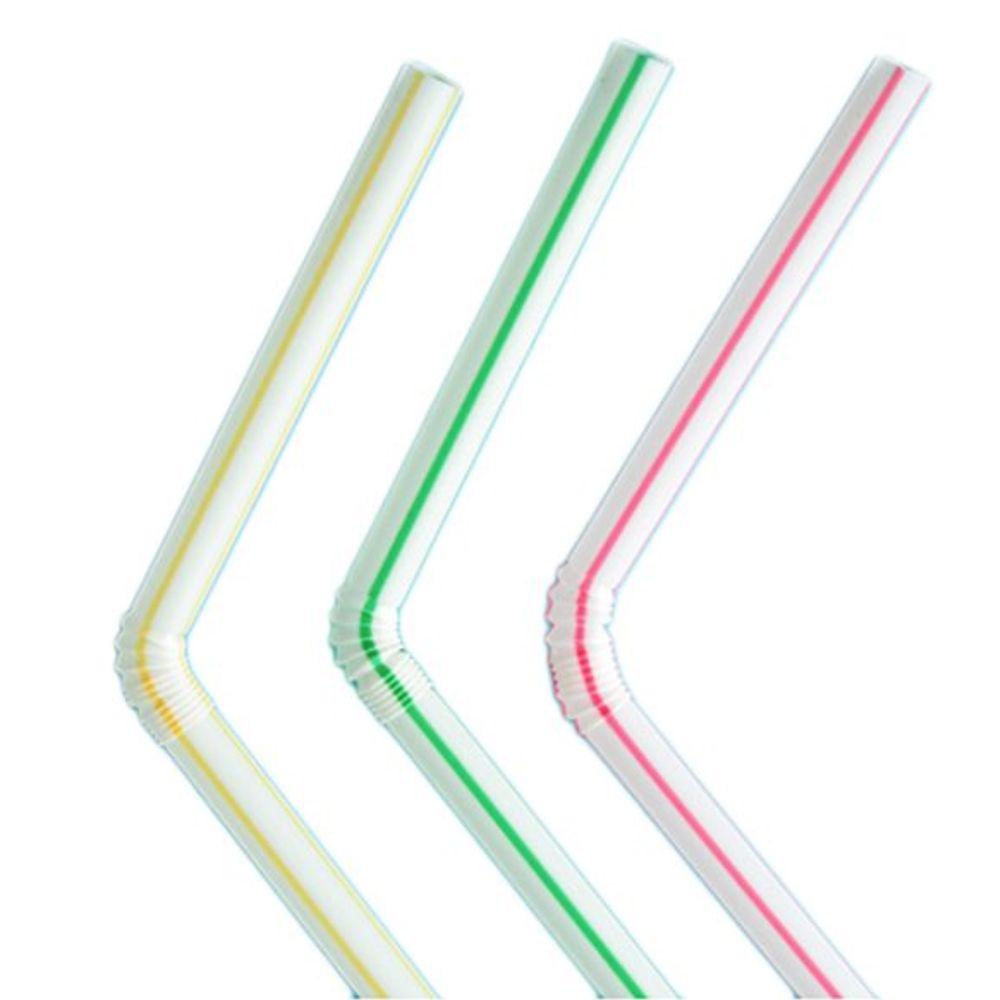 Canudo plástico dobrável listrado 22cm com 100 unidades