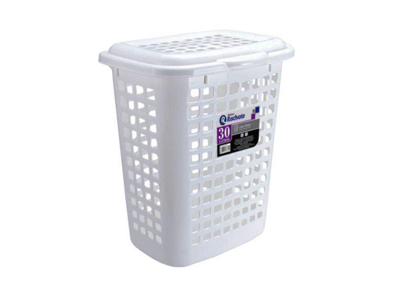 Cesto telado branco com tampa 30 litros