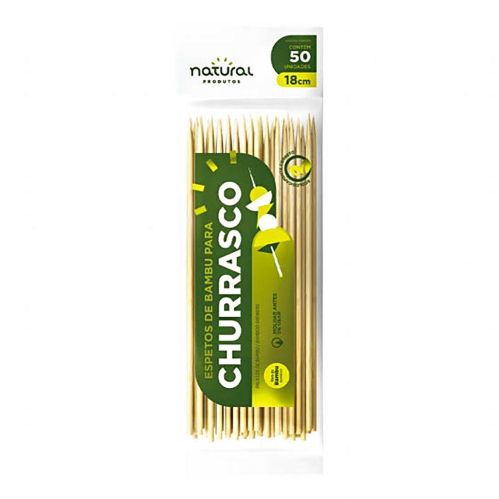 Espeto Bambu Churrasco 18cm com 50 Unidades