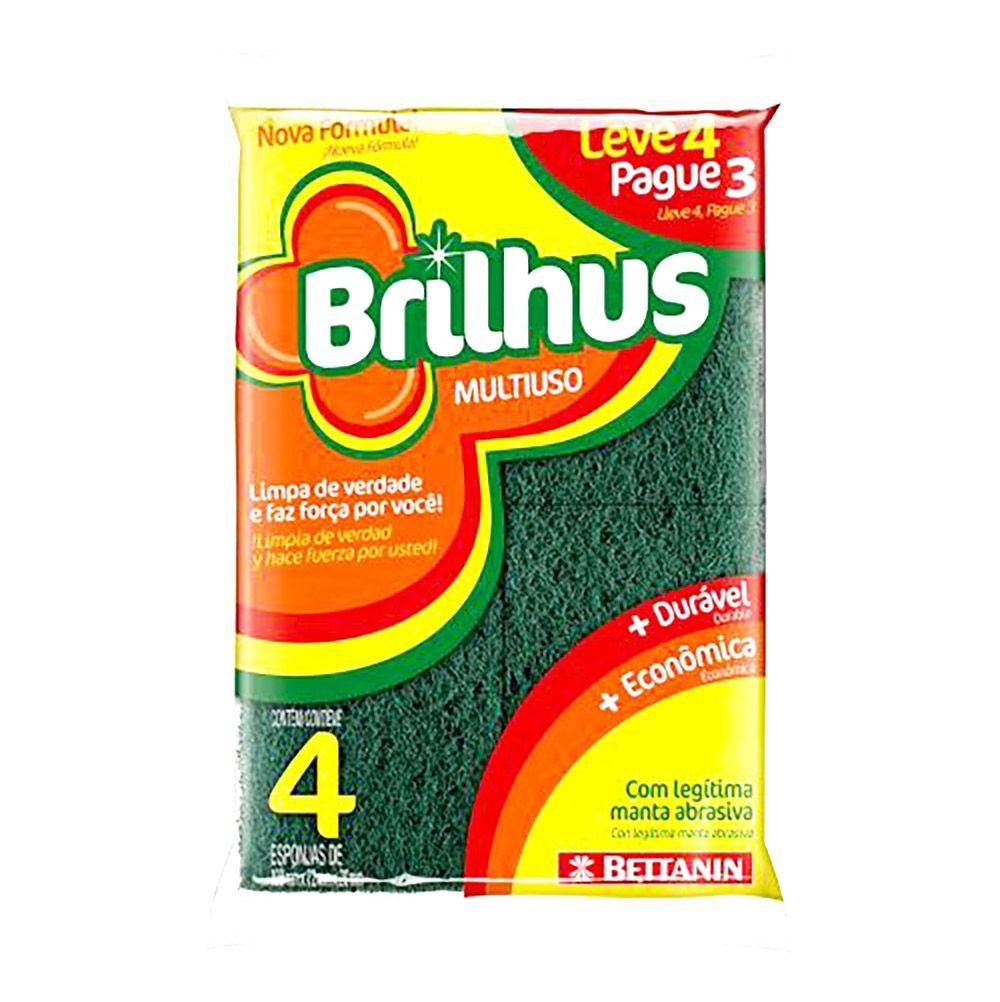 Esponja dupla face amarela com 4 unidades - Brilhus