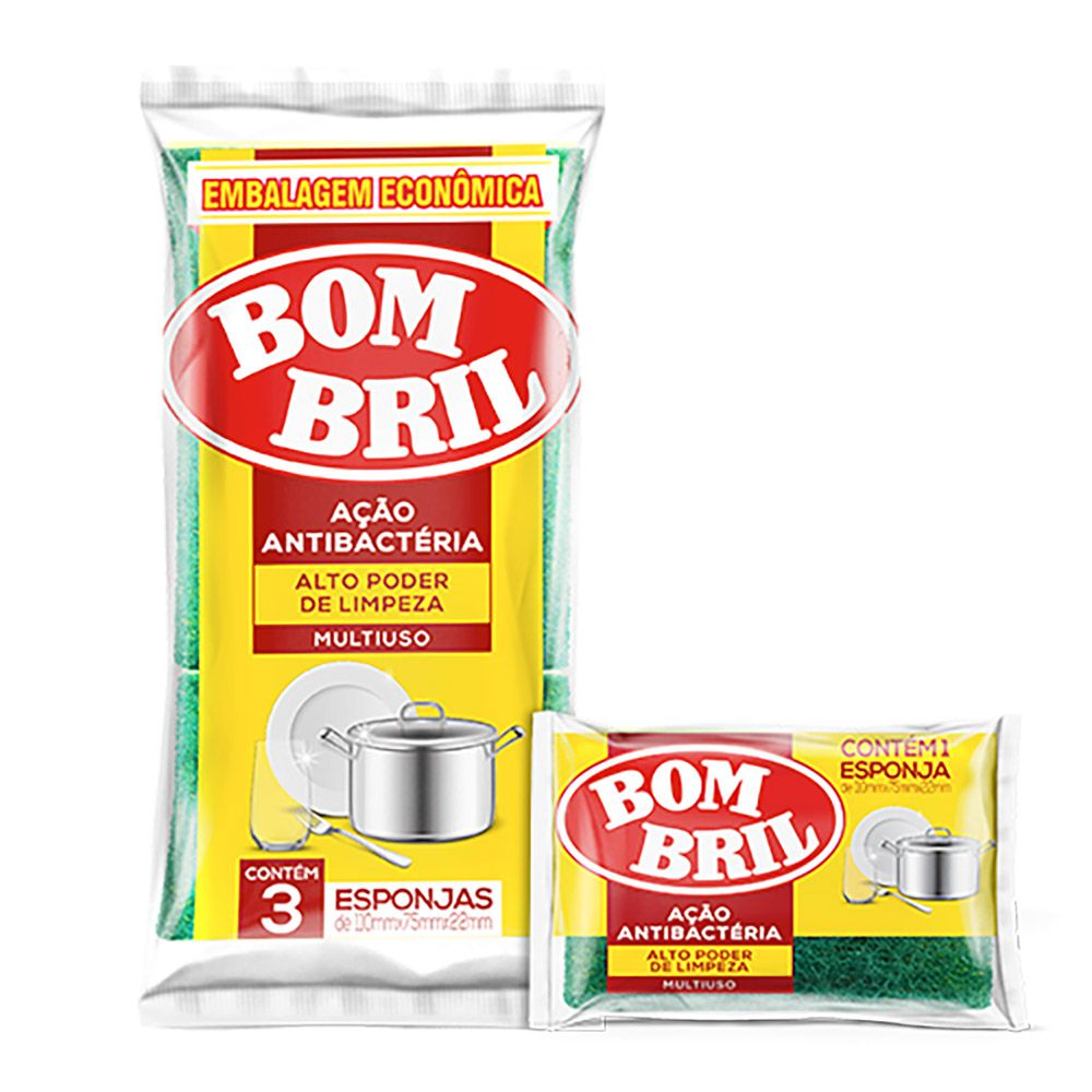 Esponja dupla face com 03 unidades - Bombril