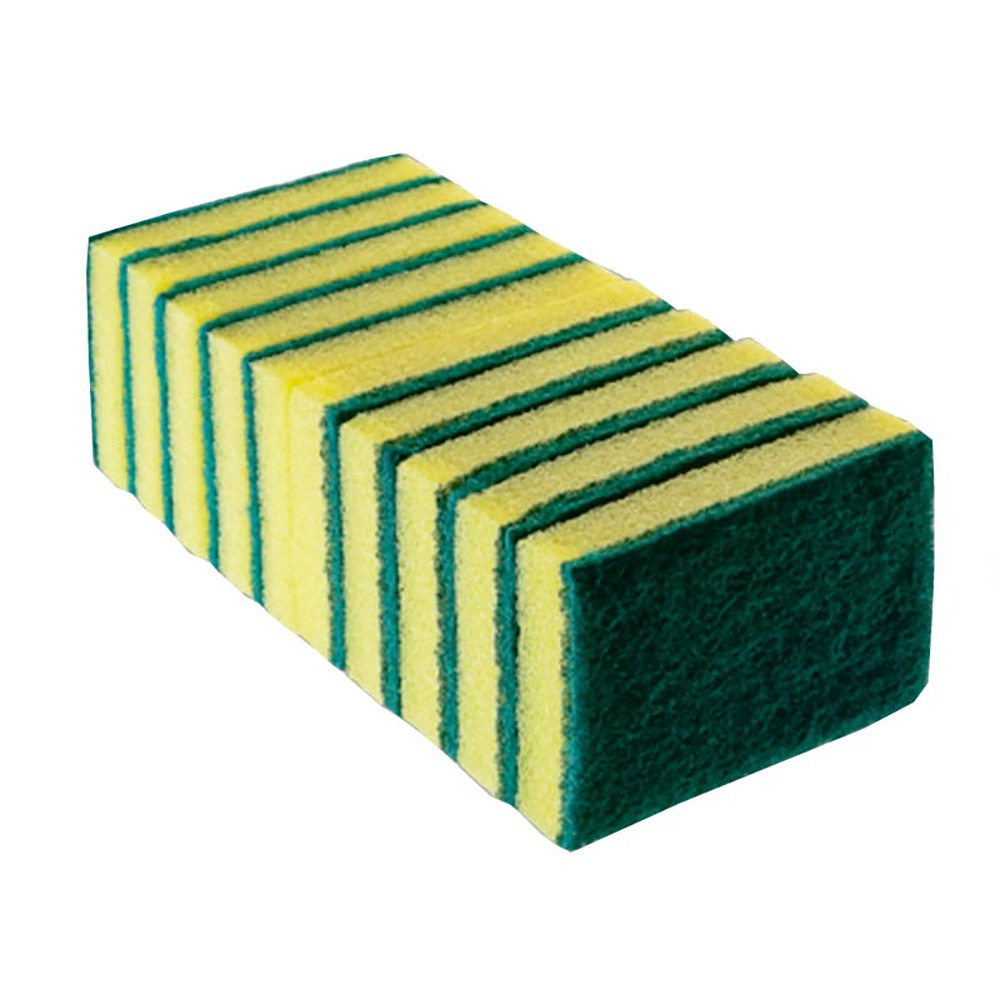 Esponja Dupla Face Verde e Amarela Com 10 Unidades - Bettanin