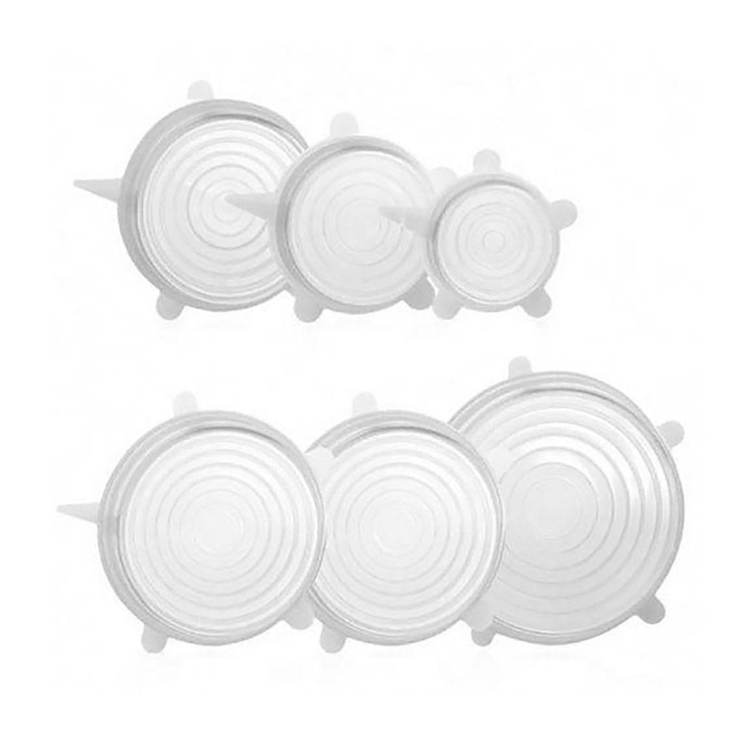 Kit tampas de silicone reutilizáveis e flexíveis com 6 unidades