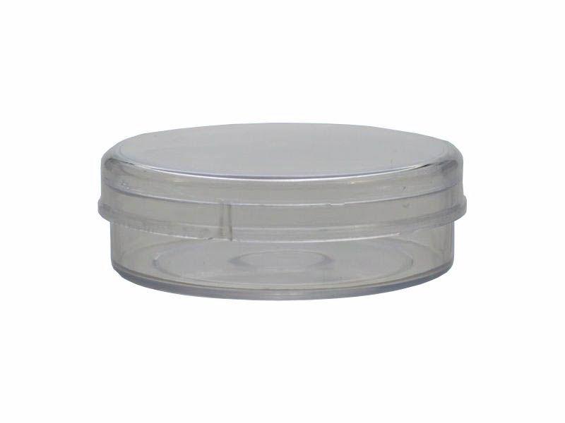 Lata plástica transparente pequena 5x2 com 10 unidades