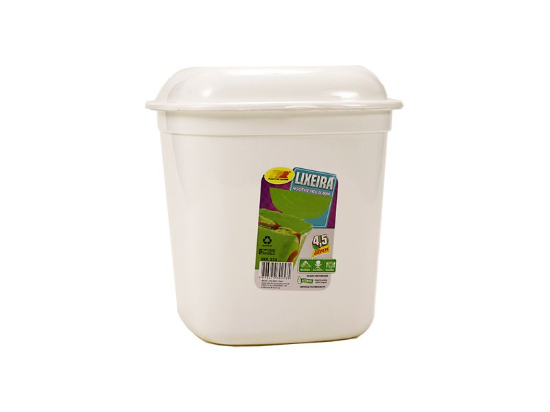 Lixeira branca com tampa 4,5 litros