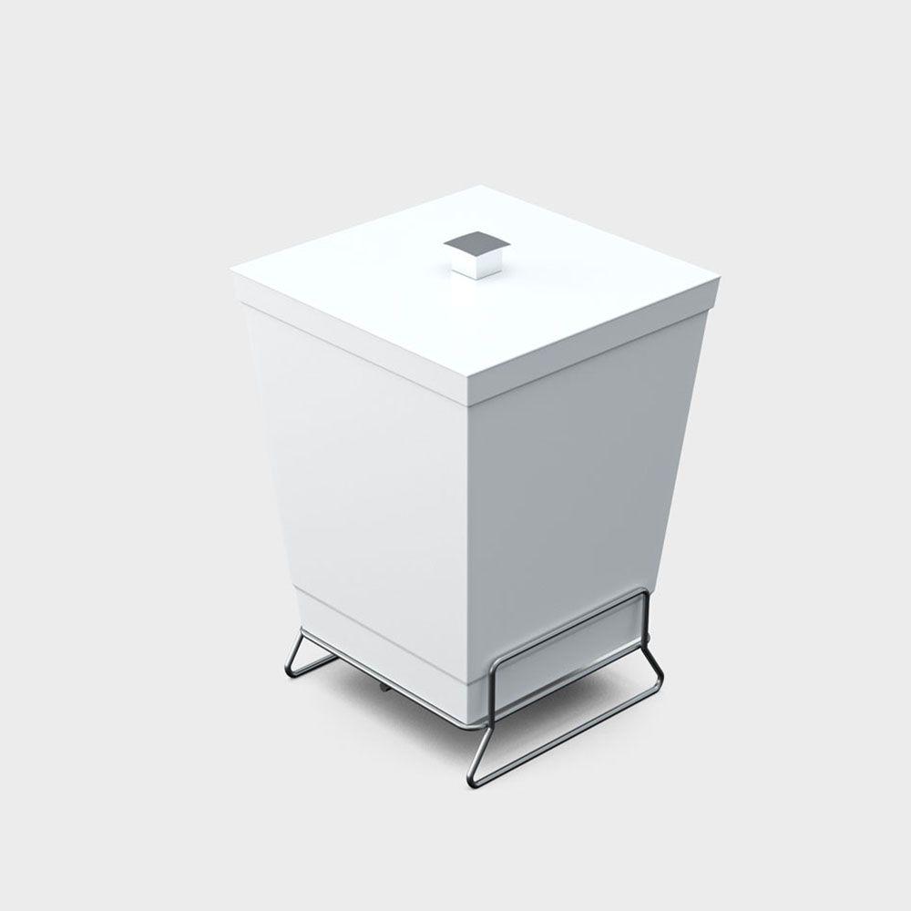 Lixeira branca com tampa e suporte de piso 6,5 litros