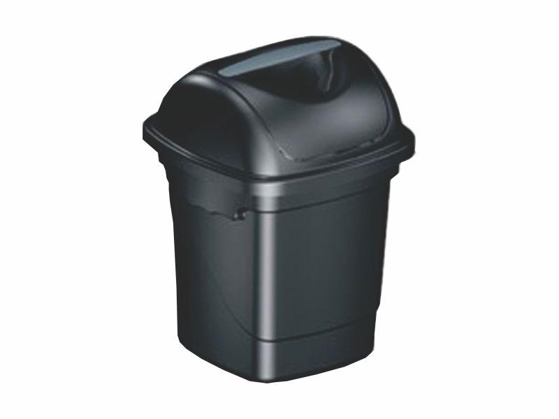 Lixeira com tampa basculante preta 10 litros