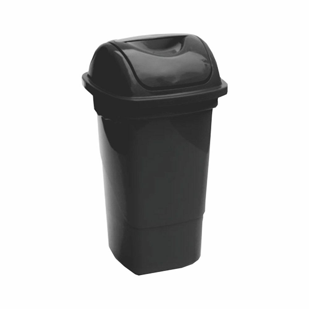 Lixeira com tampa basculante preta 14 litros