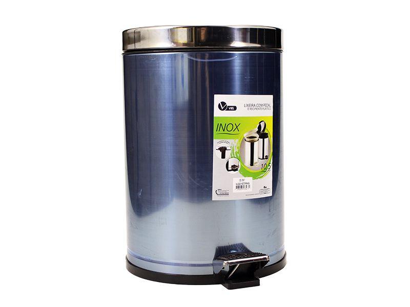 Lixeira de inox com pedal e reservatório interno 10,5 litros