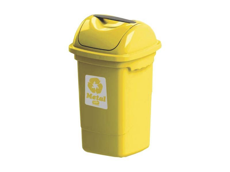 Lixeira para coleta seletiva basculante amarela 30 litros - Plasvale