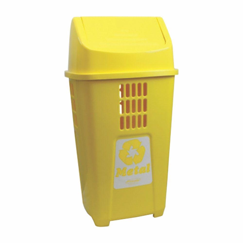Lixeira para coleta seletiva basculante amarela 50 litros - Plasvale