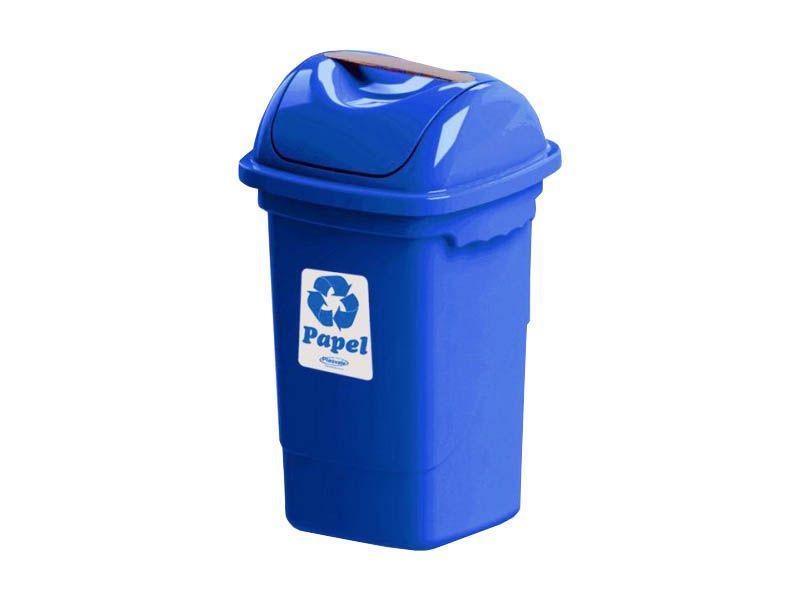 Lixeira para coleta seletiva basculante azul 30 litros - Plasvale