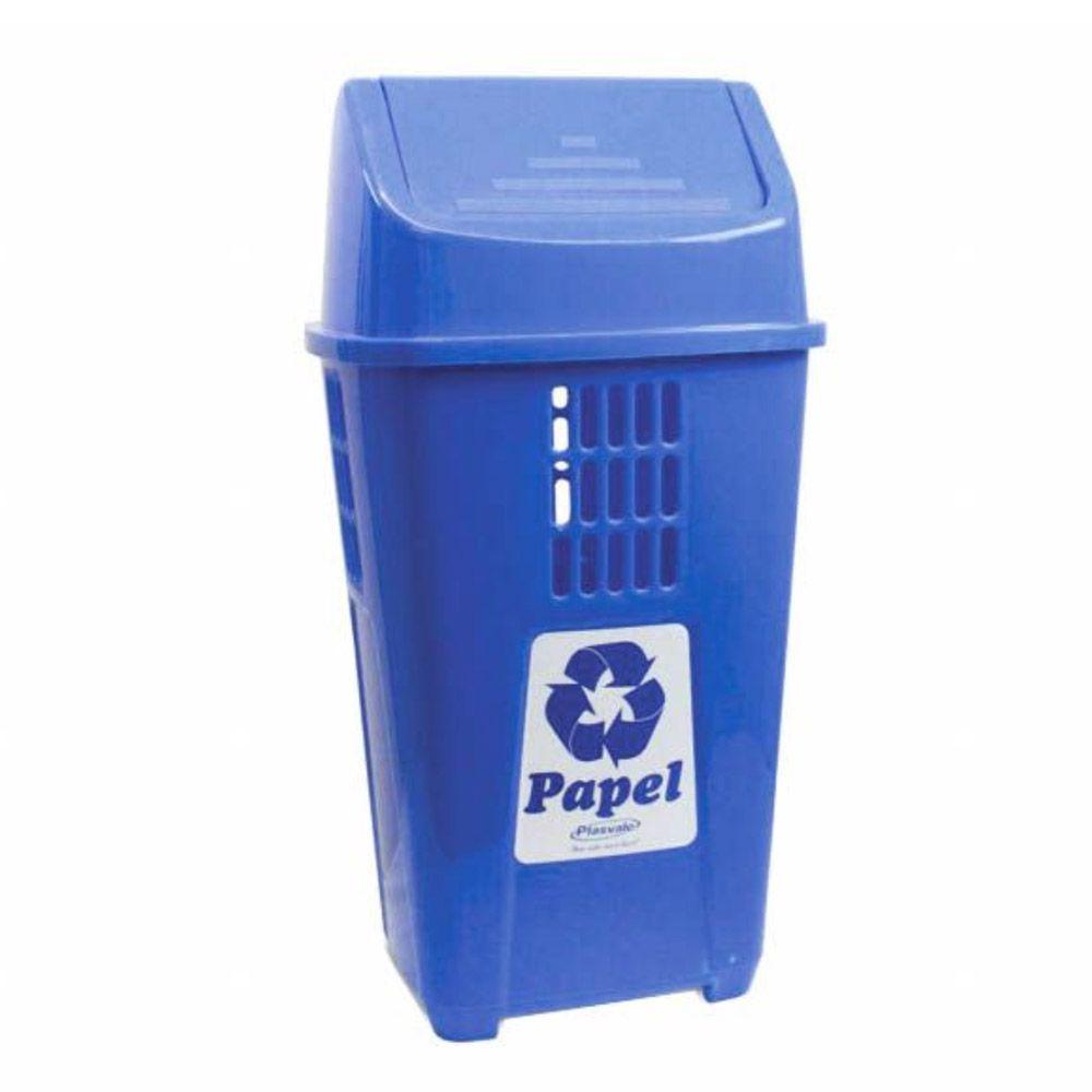 Lixeira para coleta seletiva basculante azul 50 litros - Plasvale