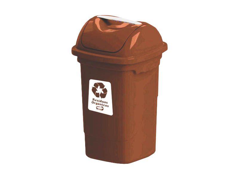 Lixeira para coleta seletiva basculante marrom 30 litros - Plasvale