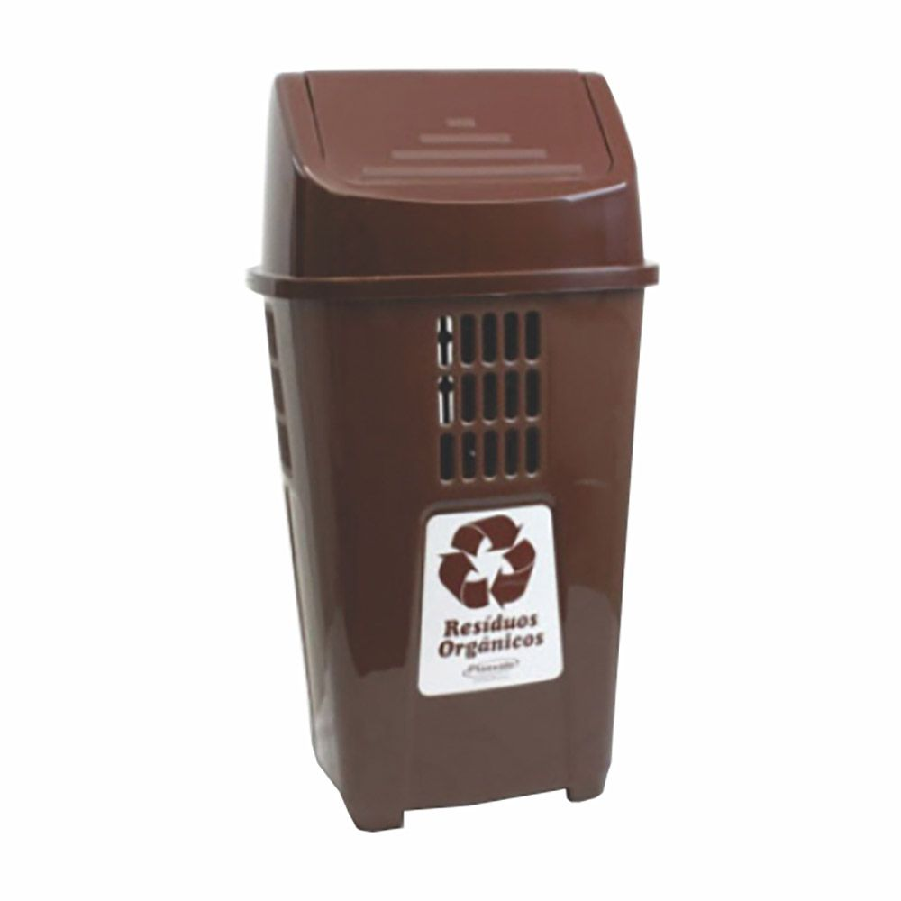Lixeira para coleta seletiva basculante marrom 50 litros - Plasvale