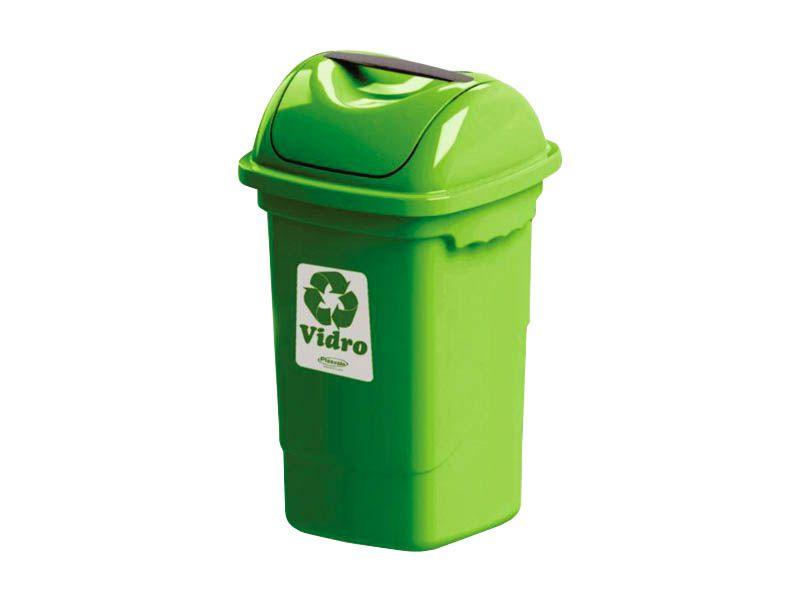 Lixeira para coleta seletiva basculante verde 30 litros - Plasvale
