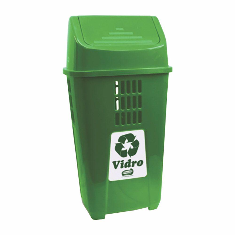 Lixeira para coleta seletiva basculante verde 50 litros - Plasvale