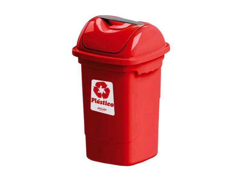 Lixeira para coleta seletiva basculante vermelha 30 litros - Plasvale
