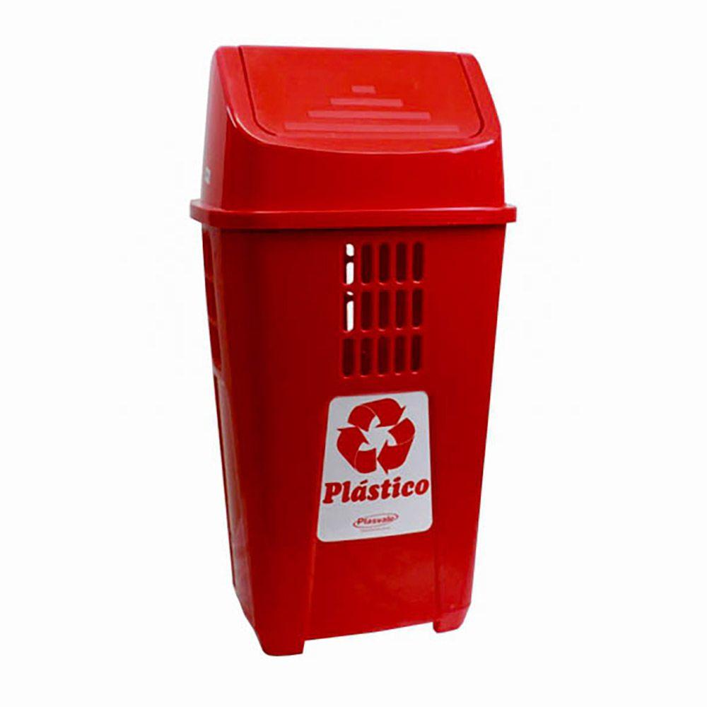 Lixeira para coleta seletiva basculante vermelha 50 litros - Plasvale