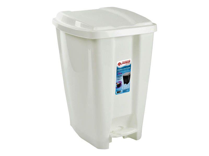 Lixeira plástica com pedal branca 20 litros